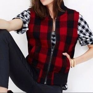 Madewell Red Buffalo Check Vest with Wool S